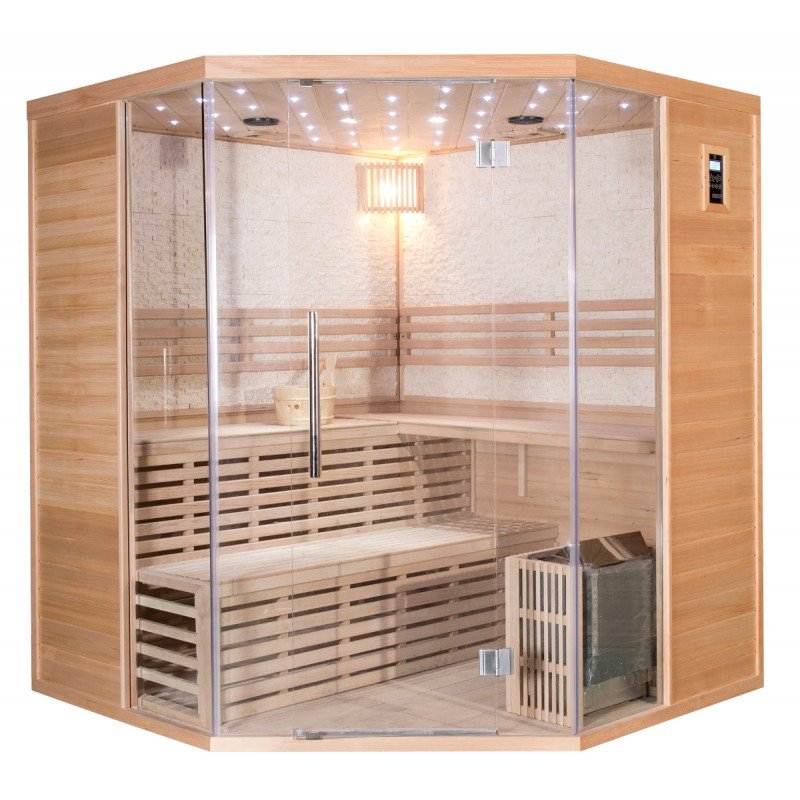 klassische sauna sno mit eckeinstieg 4 5 personen mit sawo ofen 8000w. Black Bedroom Furniture Sets. Home Design Ideas
